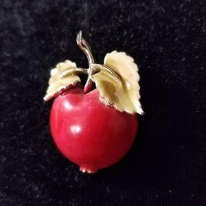 VINTAGE painted enamel apple brooch pin